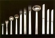 Josef Hoffmann. Juego de cubiertos de plata.1903-1904.