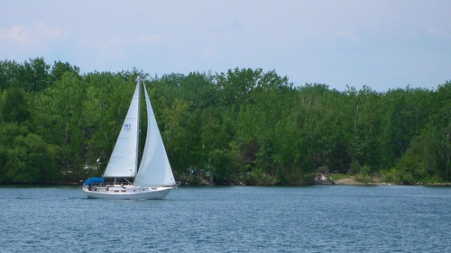 Sailboat around the islands