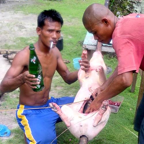 Siargao Island, Surigao del Norte roasting pig traditional lechon rural scene Buhay Pinoy Philippines Filipino Pilipino  people pictures photos life Philippinen