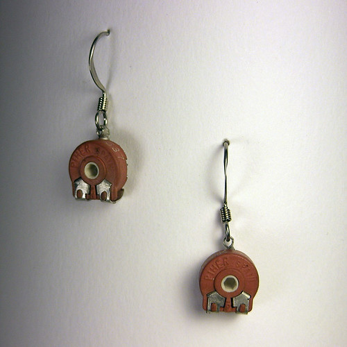 Brown Potentiometer Earrings