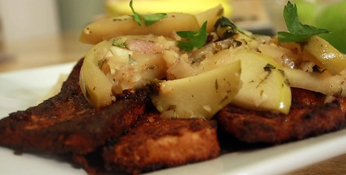 Pan Fried Tofu With Savory Ginger-Aplple Sauce