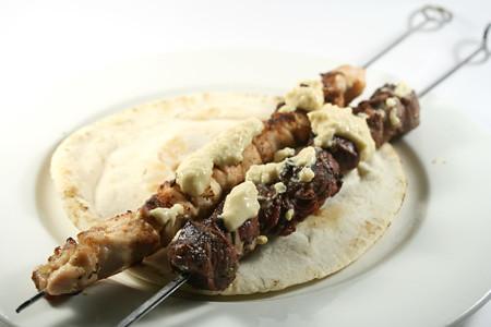 chicken and lamb souvlaki