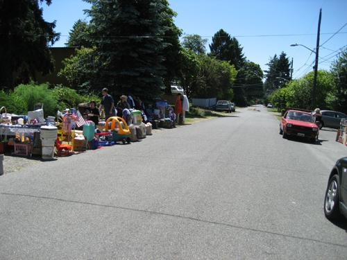 Sidewalk sale in no-sidewalk-land