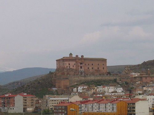 O's village in Spain with apartment blocks and the castle