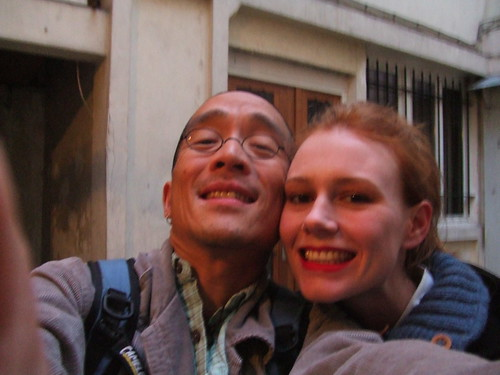 Peter and me being silly in the courtyard of the apartment.