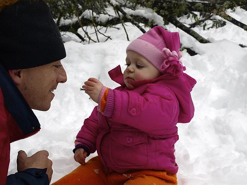 Tilly feeding Daddy snow