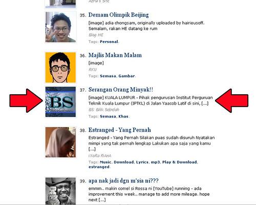 BilikSebelah on WordPress Top Post 7th july 2008