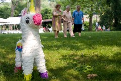 The unicorn pinata before getting the hell beat out of it.