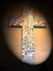 Mosaic cross ~Lobby of New West Catholic gym