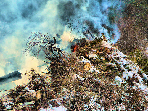 Flames in the brush pile on Thursday.