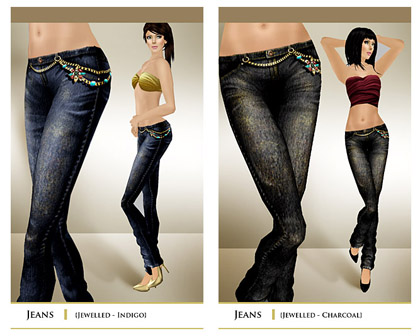 layout jeans blue+black jewelled