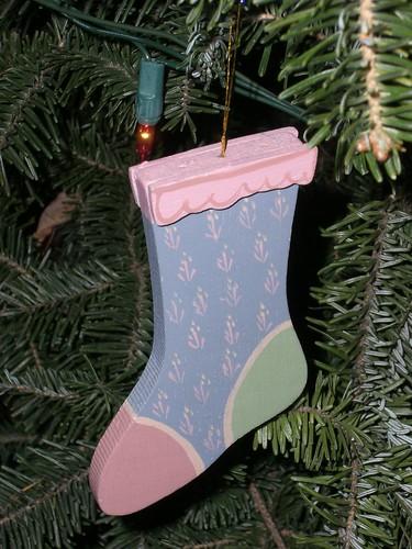 Blue stocking ornament