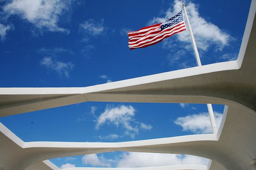 Red, white, and blue at the Arizona Memorial