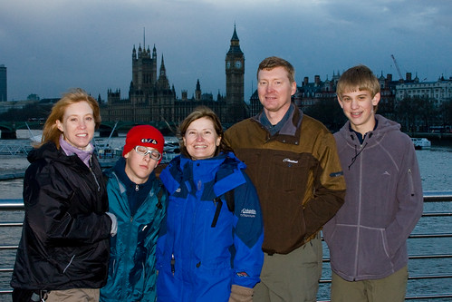 On bridge with Big Ben behind