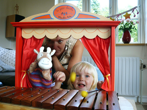 Ronja's new puppet theatre and xylophone