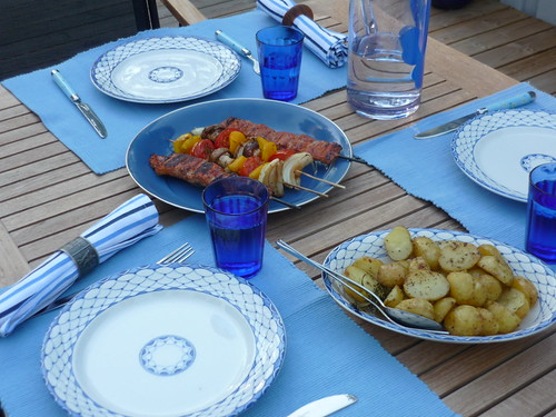 BBQ dinner with oven-baked potatoes