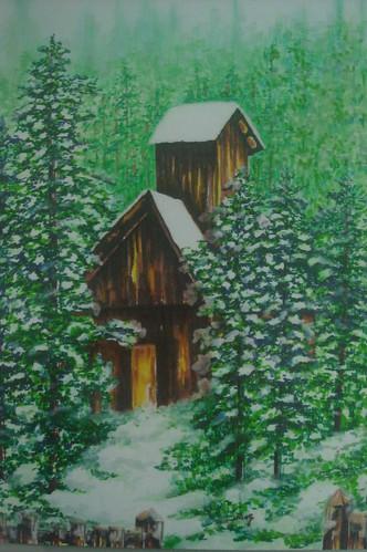 下雪�的森林小木屋