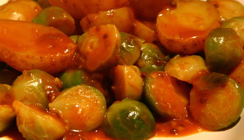 Spanish potatoes with brussels sprouts