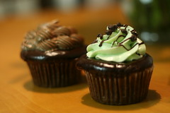 Mint chocolate (foreground) and triple chocolate cupcakes.