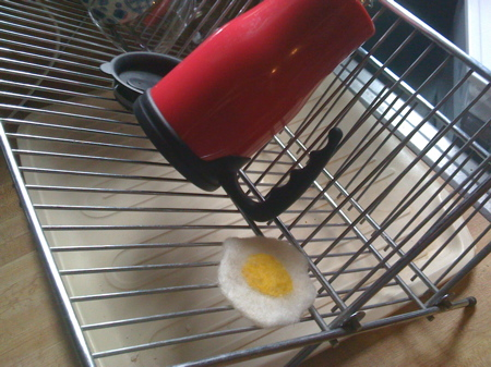 Fried Egg on Dish Rack
