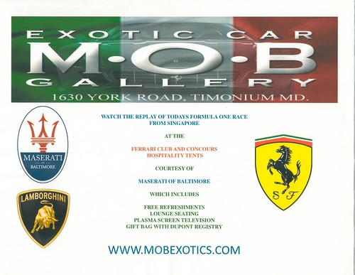 Concours D'Elegance 2008 Hospitality Area INVITATION from Maserati of Baltimore and M.O.B. Exotic Car Gallery and Race Fan Boutique