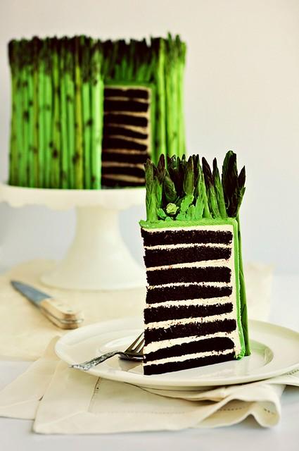 Fondant Asparagus Cake (sliced)