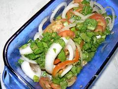 bbq dinner.mustard salad