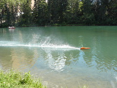 Rooster tail after a Supervee 27 brushless boat