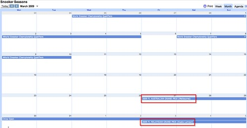 displaying events from multiple google calendars in a single