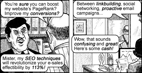 Jack Chick, SEO consultant by Jesus H. Shatner.