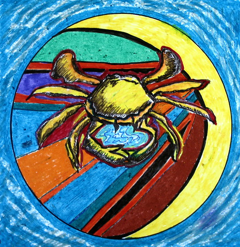 Ode To A Crab, mandala created from a blank circle, June 2008, Minneapolis, Minnesota, photo © 2008 by QuoinMonkey. All rights reserved.