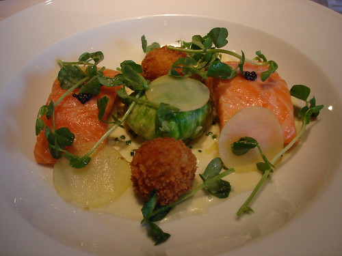 Confit Sea Trout,Crab Salad, Crab Croquettes