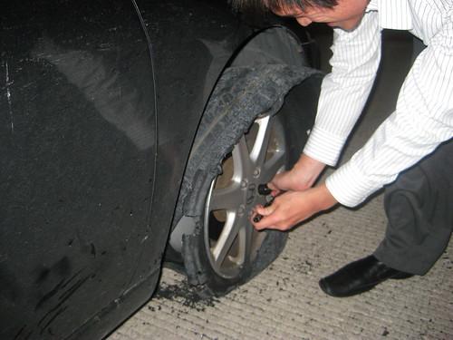 Exploding car tire