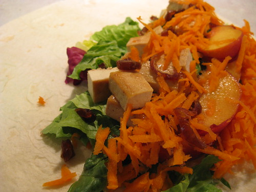 Peaches and Glazed Tofu Wrap, Unwrapped