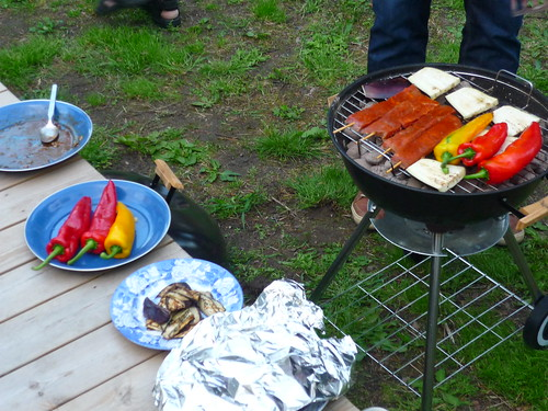 BBQ with peppers, aubergine & skewers