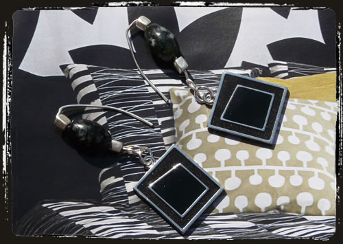 Orecchini neri - Black earrings AMHIPLA