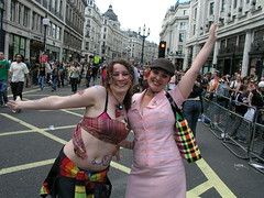Helen and Jess: still excited after the parade has finished.