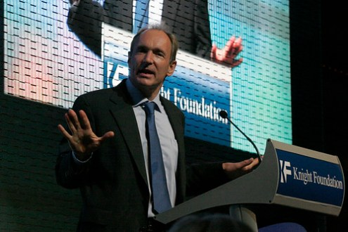 Sir Tim Berners-Lee talking about the Web at the Newseum
