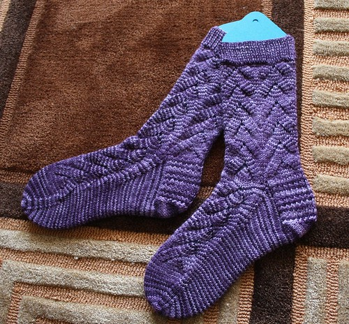 Purple No Purl Monkey Socks