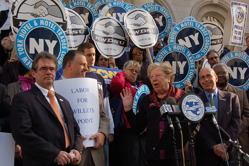 Claire Shulman (c.) joins labor leaders for a rally ahead of the Willets Point hearing.