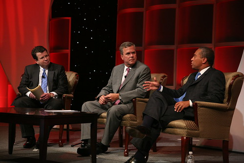 Neil Cavuto, Jeb Bush and Deval Patrick discuss various topics at the Tuesday Keynote Luncheon.