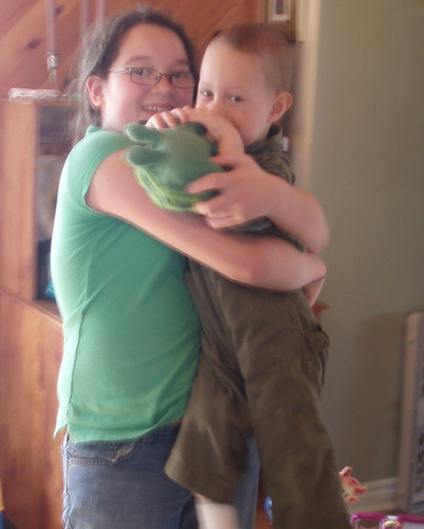 Mini-me with Little G with holding his Sheldon the turtle
