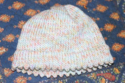 Baby hat with picot edge