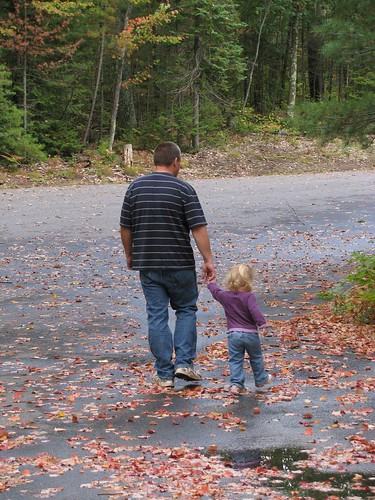 Hubby and Kidlet Walking Happily in Fall Colors