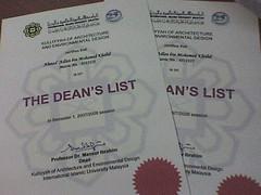 Dean's List certificate