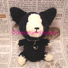 Amigurumi Boston Terrier puppy dog with silver collar and charm