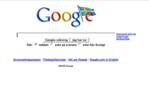 Googles Sverigesida på nationaldagen 6 juni