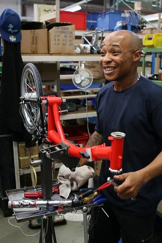 A bike assembly station