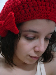 cute red beret with bow