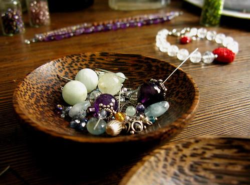 Beads on wood